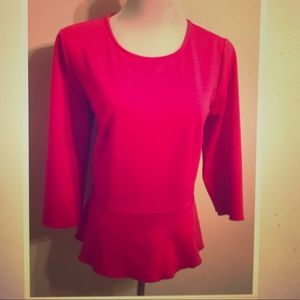 Ann Taylor 3/4 sleeve pink peplum blouse